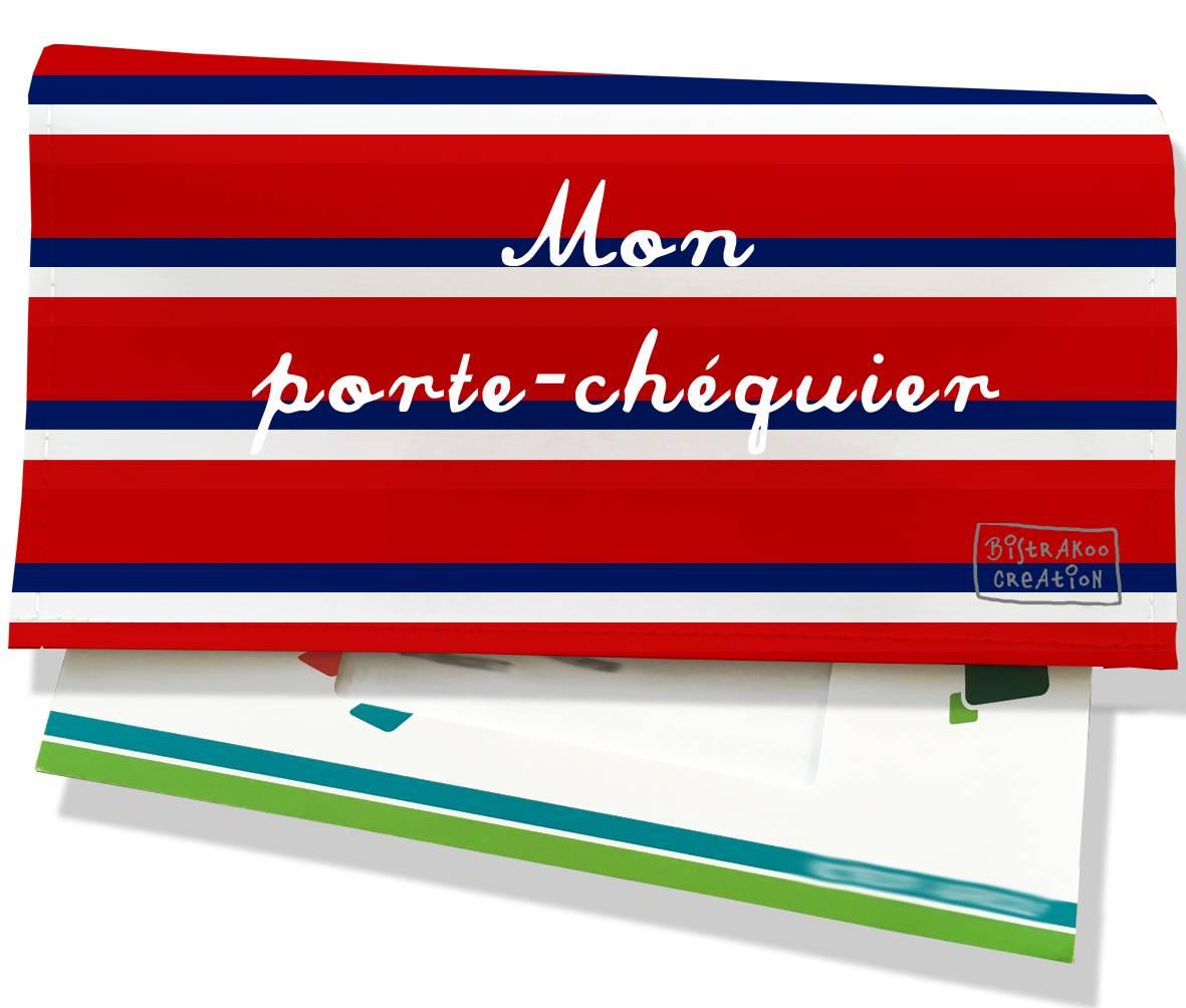 Porte-chéquier motif Bandes rouges Collection Française