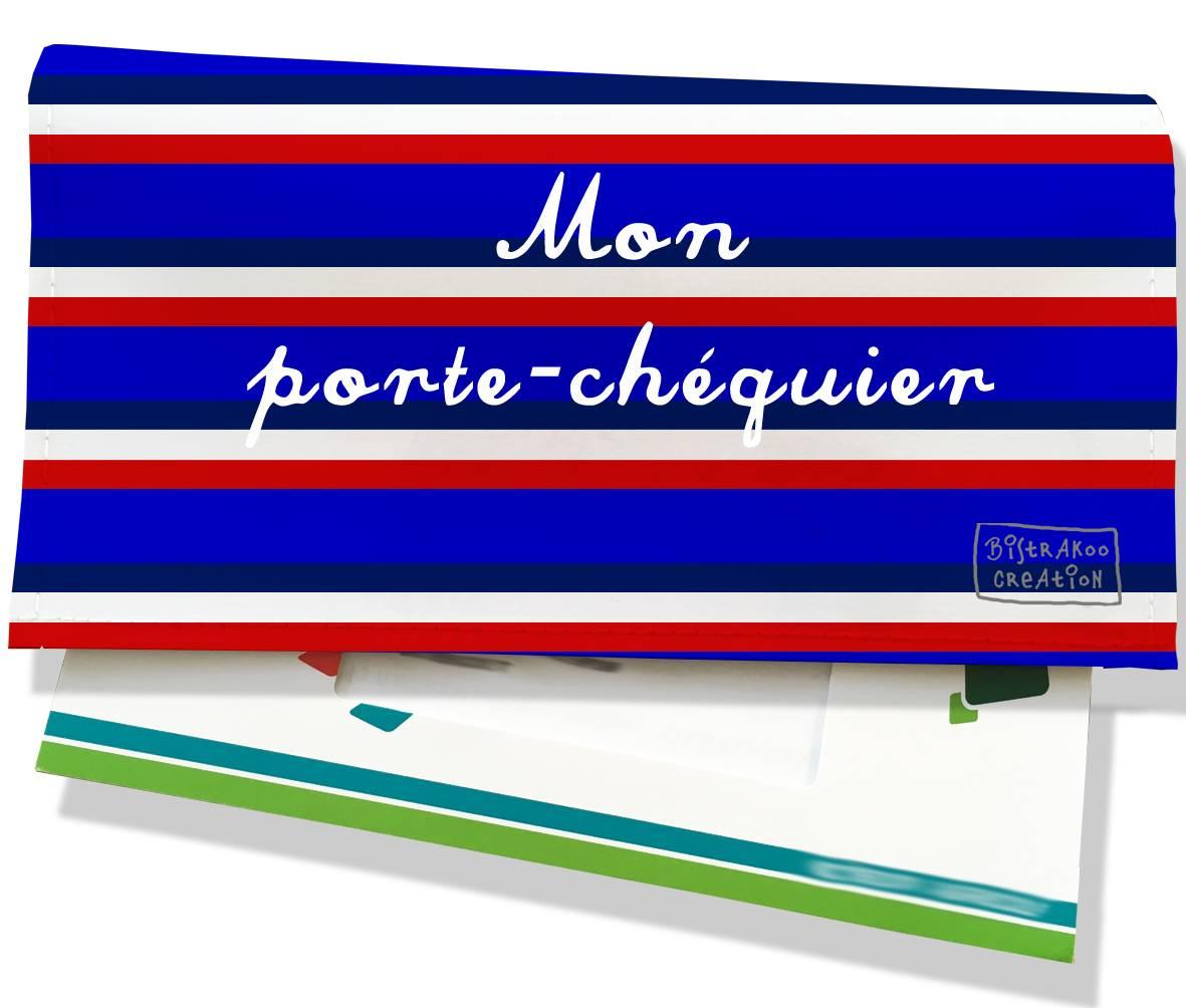 Porte-chéquier motif Bandes bleues Collection Française