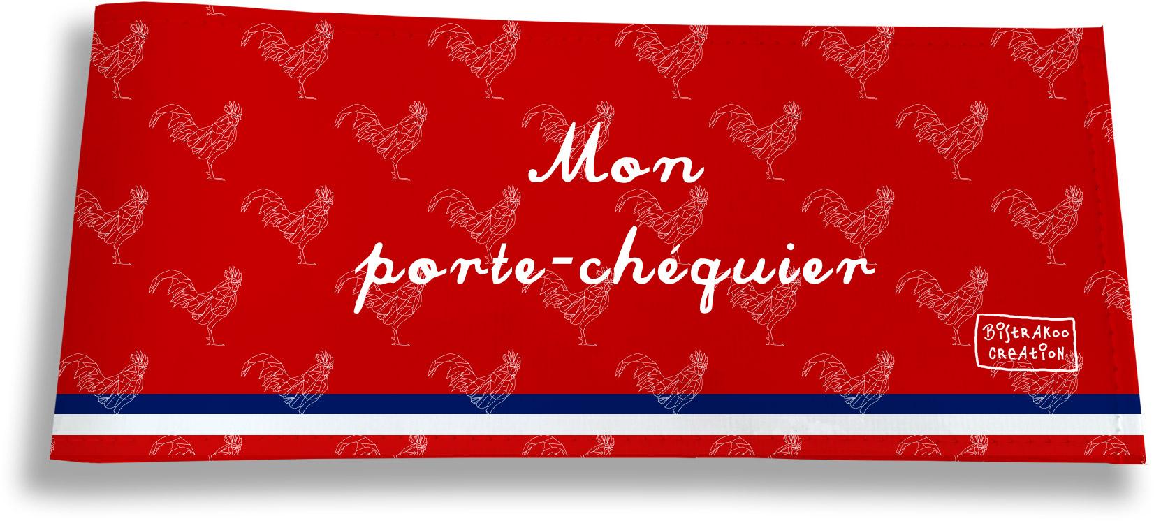 Porte-chéquier long horizontal motif Rouge Collection Française