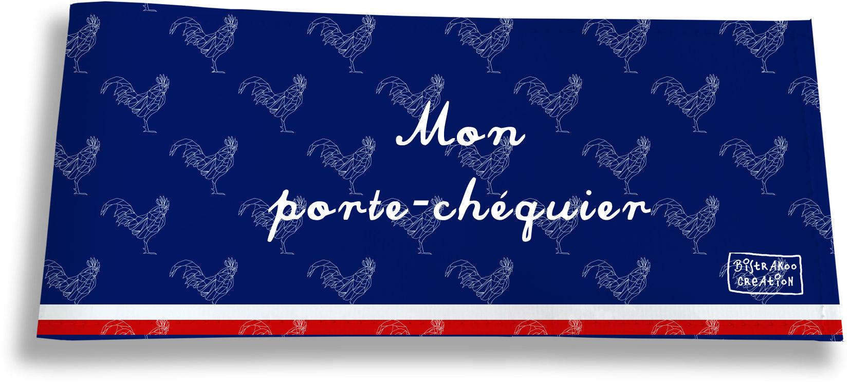Porte-chéquier long horizontal motif Bleu marine Collection Française