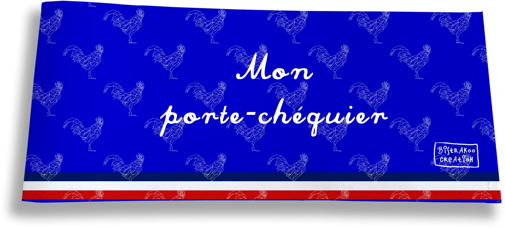 Porte-chéquier long horizontal motif Bleu Collection Française