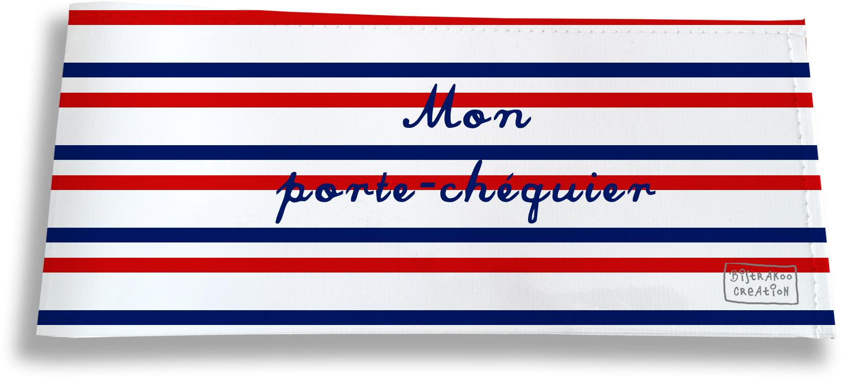Porte-chéquier long horizontal motif Rayures Bleues et rouges Collection Française