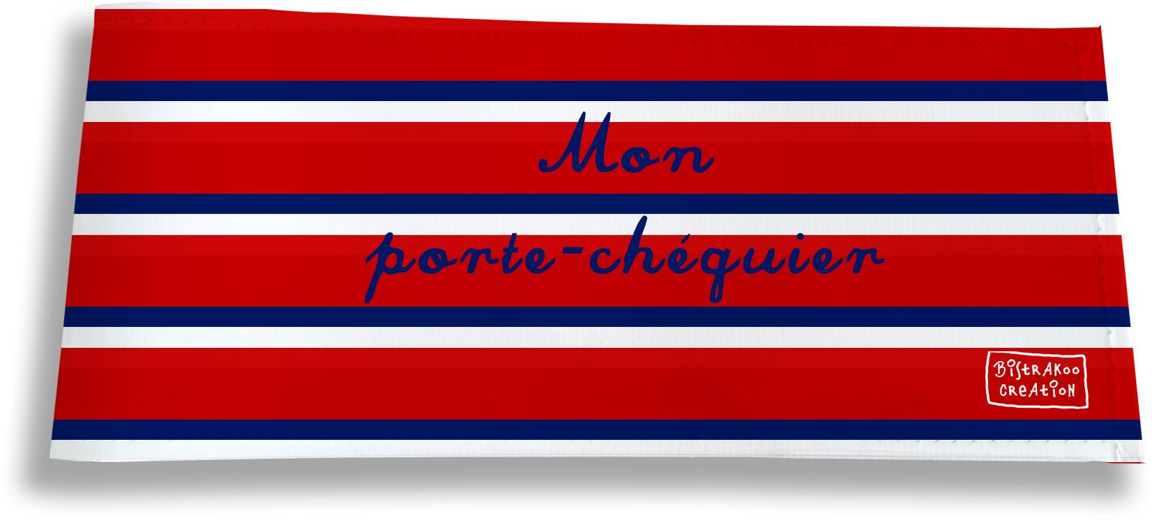 Porte-chéquier long horizontal motif Bandes rouges Collection Française