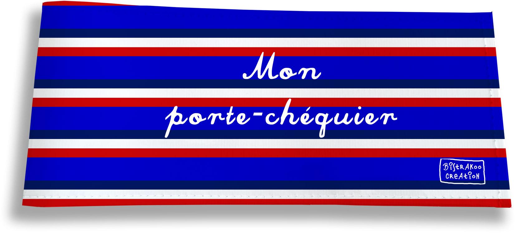 Porte-chéquier long horizontal motif Bandes bleues Collection Française