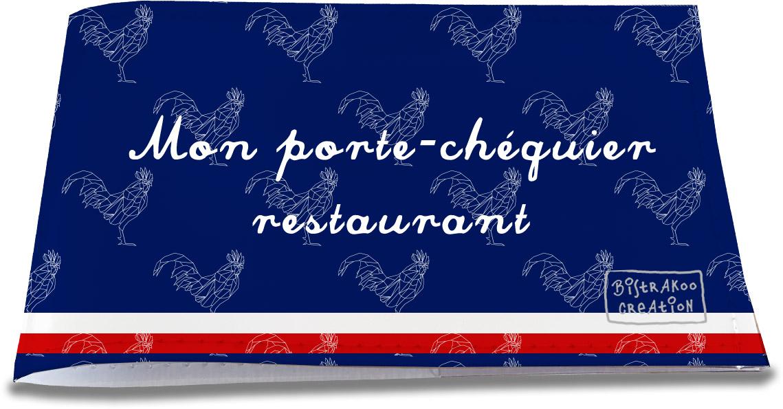 Porte-chéquier restaurant motif Bleu marine Collection Française