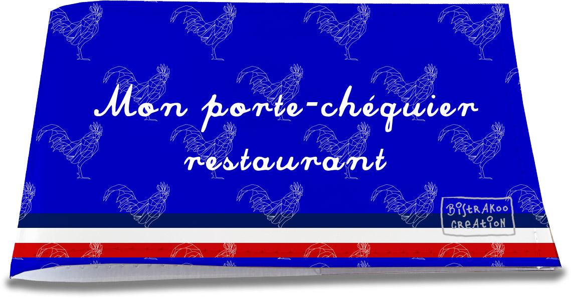Porte-chéquier restaurant motif Bleu Collection Française
