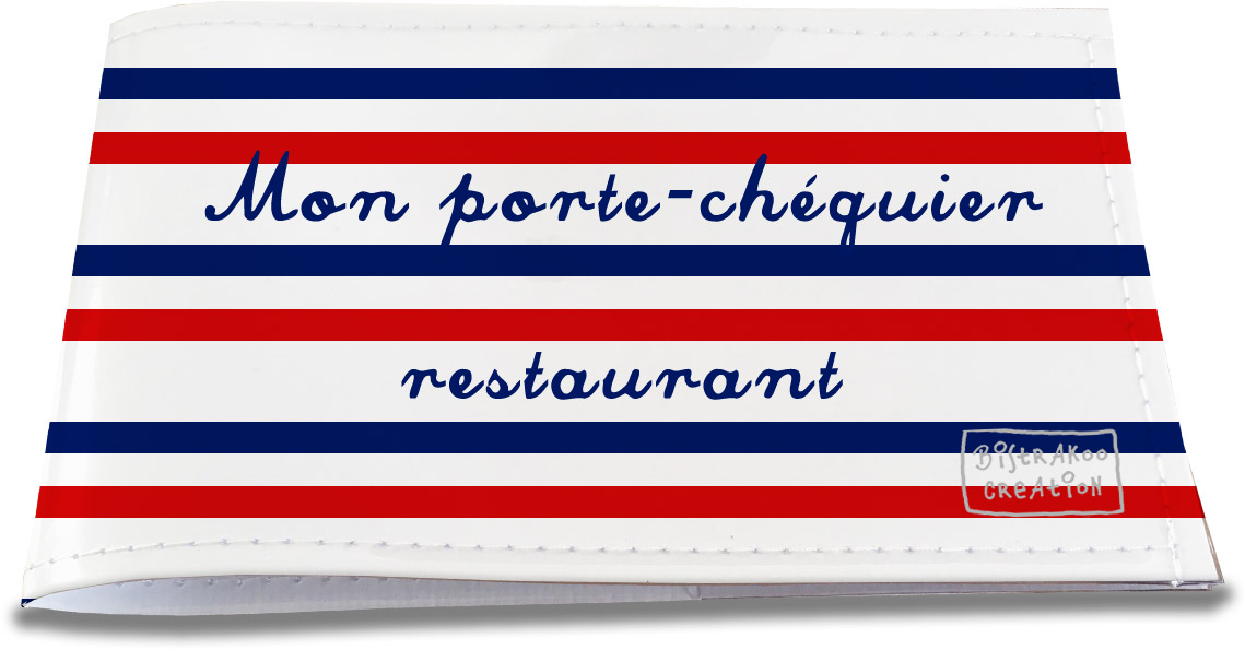 Porte-chéquier restaurant motif Rayures bleues et rouges Collection Française