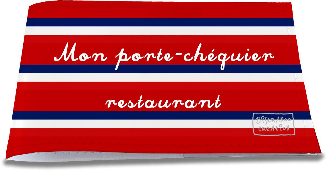 Porte-chéquier restaurant motif Bandes rouges Collection Française
