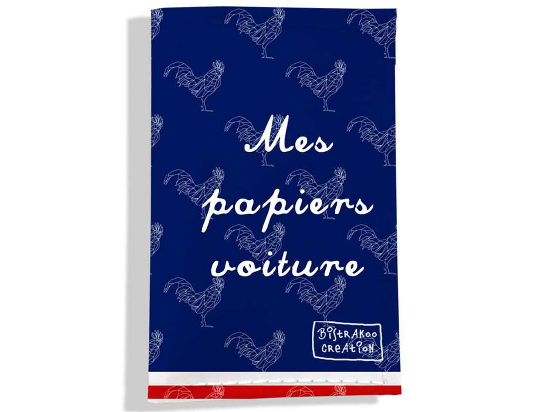 Porte-papiers de voiture motif Bleu marine Collection Française