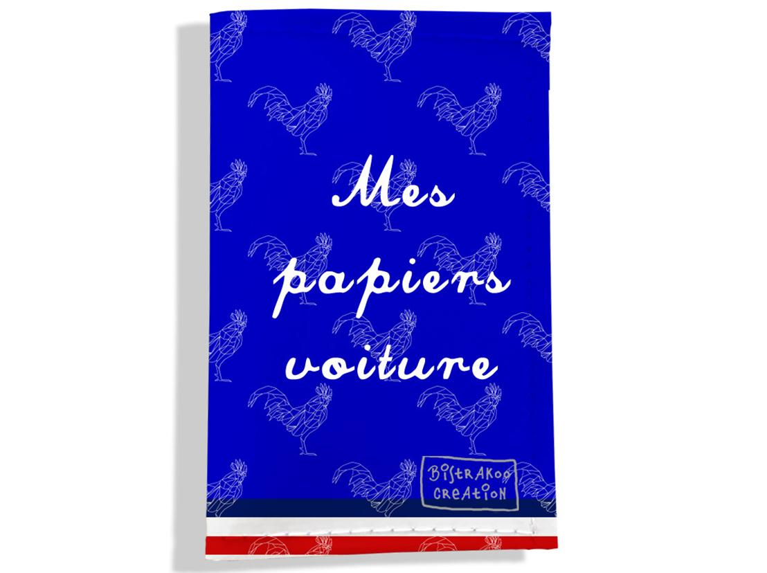 Porte-papiers de voiture motif Bleu Collection Française