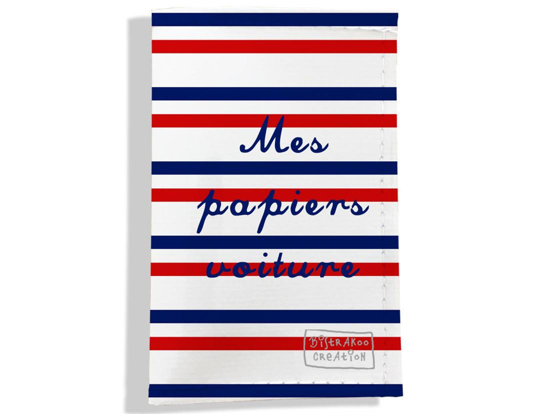 Porte-papiers de voiture motif Rayures bleues et rouges Collection Française