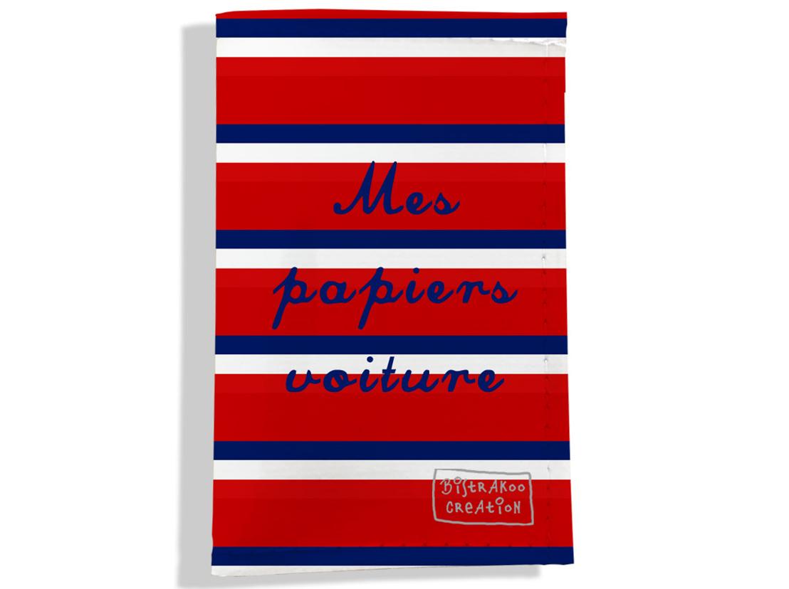 Porte-papiers de voiture motif Bandes rouges Collection Française
