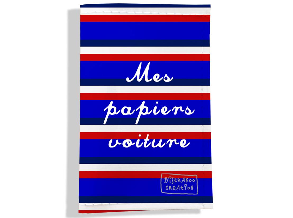 Porte-papiers de voiture motif Bandes bleues Collection Française