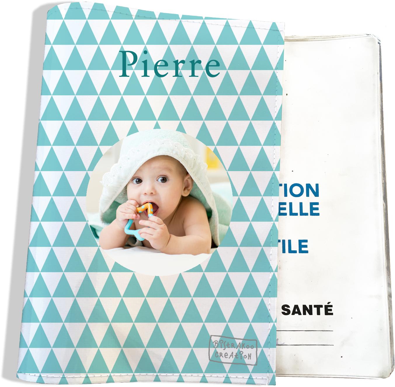 Protège carnet de santé personnalisé pour bébé garçon motif Graphique