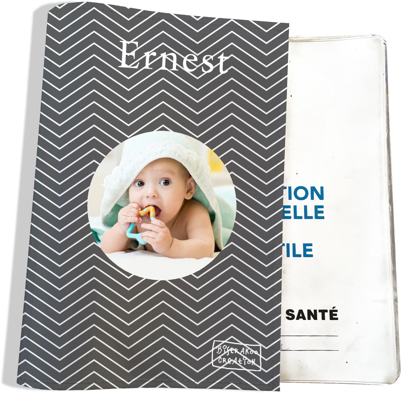 Protège carnet de santé personnalisé pour bébé garçon motif Chevrons