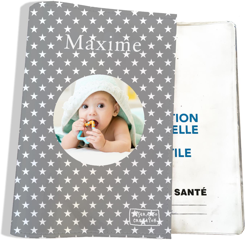 Protège carnet de santé personnalisé pour bébé garçon motif Etoiles