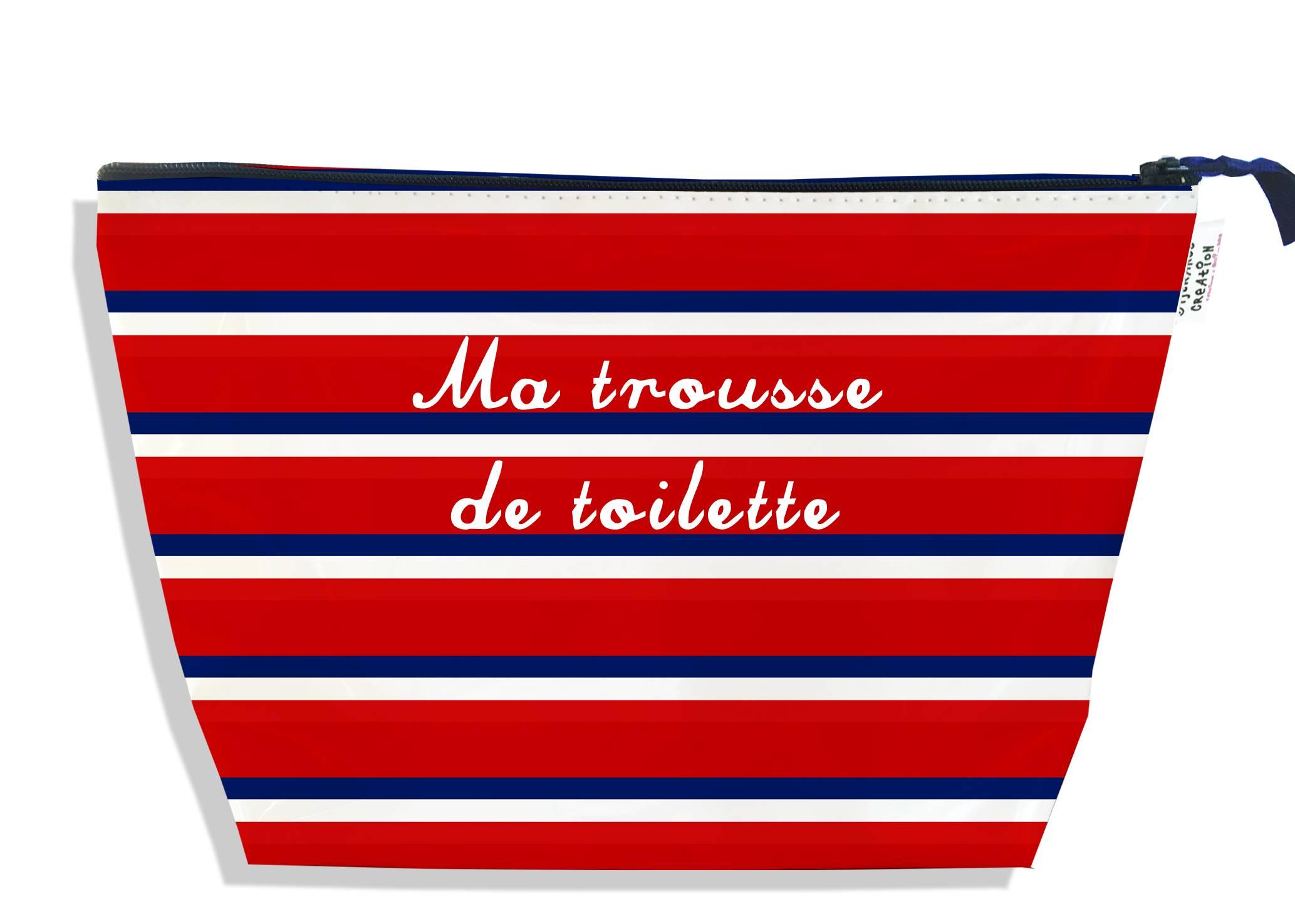 Trousse de toilette motif Bandes rouges Collection Française