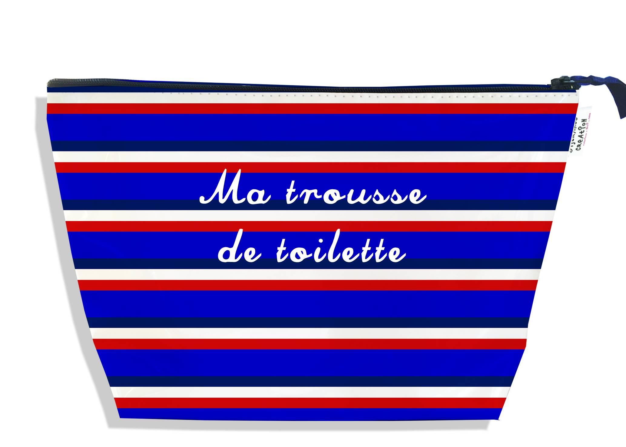 Trousse de toilette motif Bandes bleues Collection Française