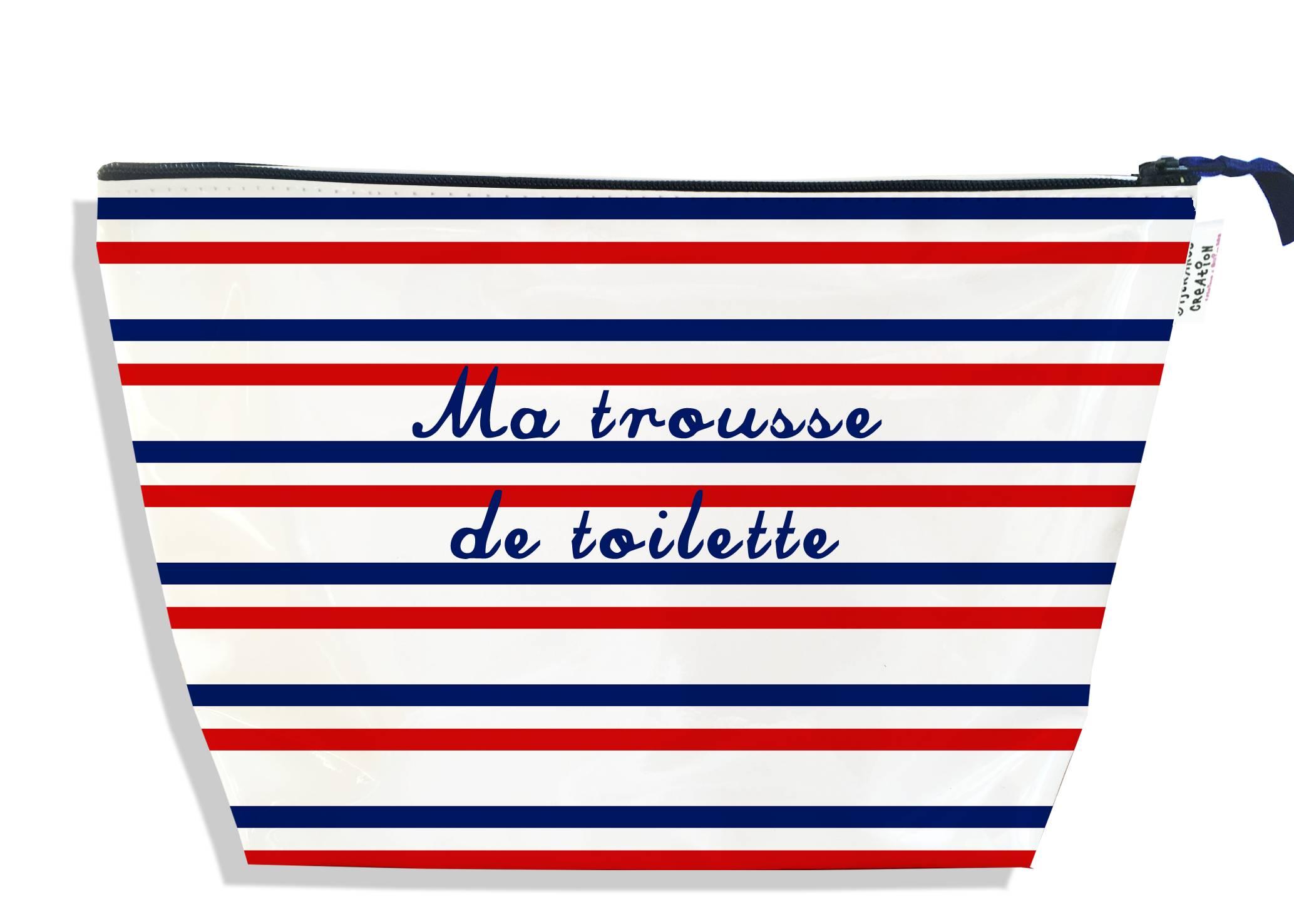 Trousse de toilette motif Rayures rouges et bleues Collection Française