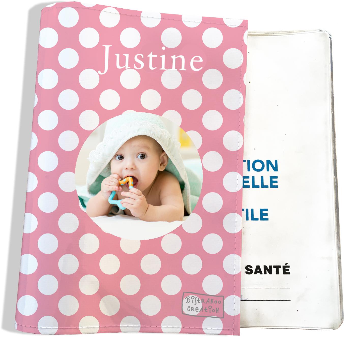 Protège carnet de santé personnalisé pour bébé fille motif Pois CS2070