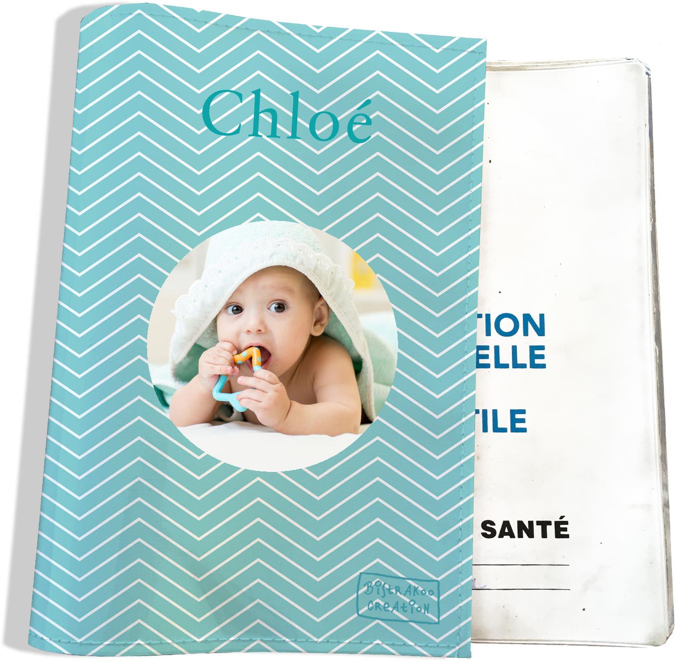 Protège carnet de santé personnalisé pour bébé fille motif Chevrons