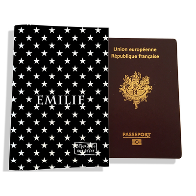 Protège passeport personnalisable pour femme Etoiles
