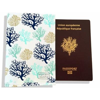 Protège passeport femme corail bleu 3071-2017
