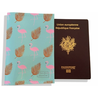 Protège passeport femme Flamants rose et plumes or 3219-2017