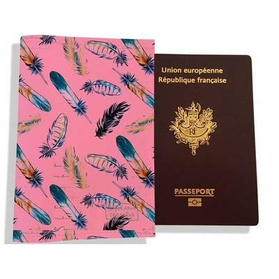 Protège passeport femme plumes multicolores 3239-2017