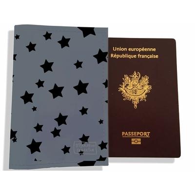 Protège passeport femme Etoiles noires fond gris PP902