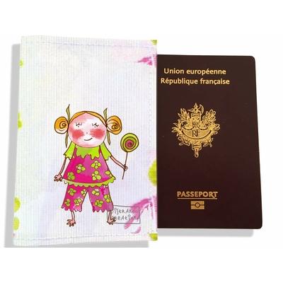 Protège passeport fille enfant Petite fille à la sucette PP7119