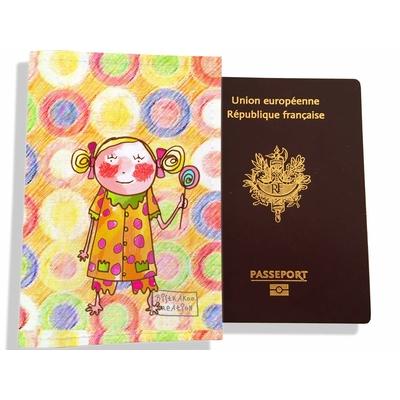 Protège passeport fille enfant Petite fille à la sucette PP7127