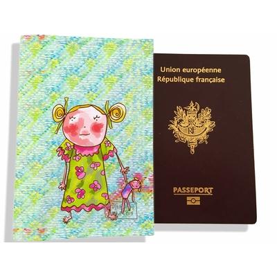 Protège passeport fille enfant Petite fille au doudou PP7116