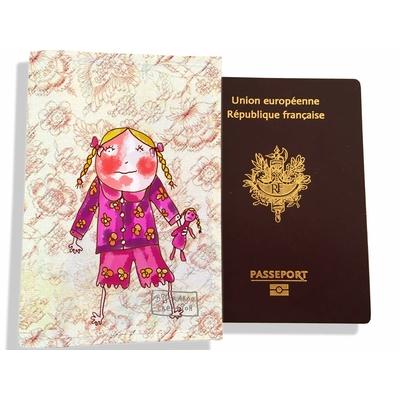 Protège passeport fille enfant Petite fille au doudou PP7117