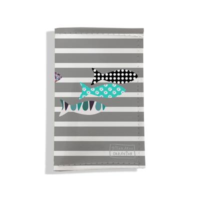 Porte-papiers de voiture marinière poissons gris bleu 3270-2017
