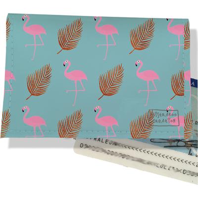 Porte-carte d'identité femme Flamants roses fond bleu 3219-2017