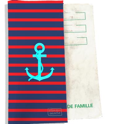 Protège livret de famille Ancre bleue fond marinière bleu et rouge L1003