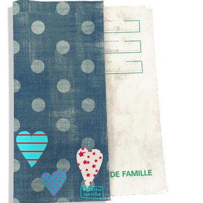 Protège livret de famille Coeurs multicolores fond bleu L1320