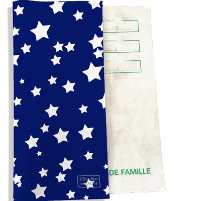 Protège livret de famille Etoiles Blanches fond bleu L428