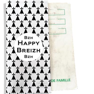 Protège livret de famille breton Bretagne Breizh Gwen Ha Du Hermines noires fond blancs L8001