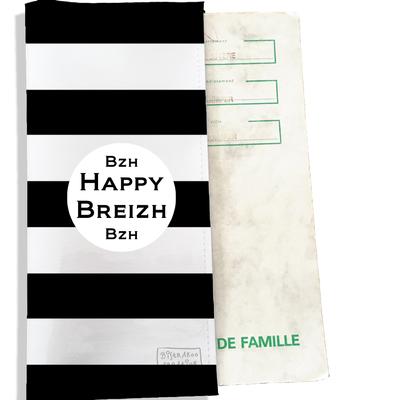 Protège livret de famille breton Bretagne Breizh Gwen Ha Du Marinière noire fond blanc L8000