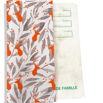 Protège livret de famille cerfs orange feuillage gris 2537