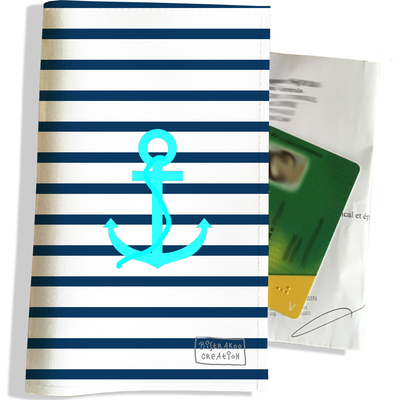 Porte ordonnance et carte vitale Ancre bleue marinière bleue PO1004