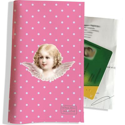 Porte ordonnance et carte vitale Ange fond rose PO1493