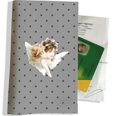 Porte ordonnance et carte vitale Anges fond gris PO1497