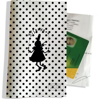 Porte ordonnance et carte vitale Bigoudène Bistrakoo fond pois noir 2009