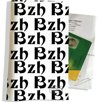 Porte ordonnance et carte vitale BZH Bretagne breizh noir PO8006