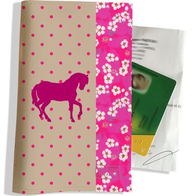 Porte ordonnance et carte vitale Cheval rose PO818
