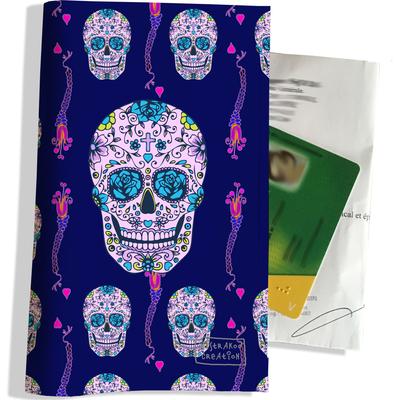 Porte ordonnance et carte vitale Crânes mexicains fond bleu marine PO1397
