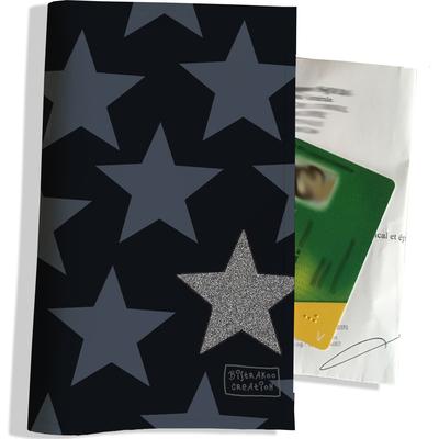 Porte ordonnance et carte vitale Etoiles bleues fond bleu PO1946